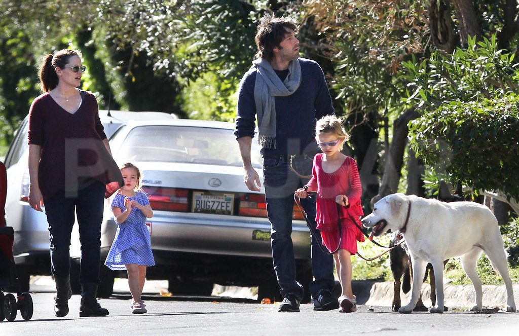 Seraphina and Violet walked dogs with Jennifer and Ben.