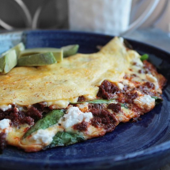 Spinach, Goat Cheese &amp; Chorizo Omelette