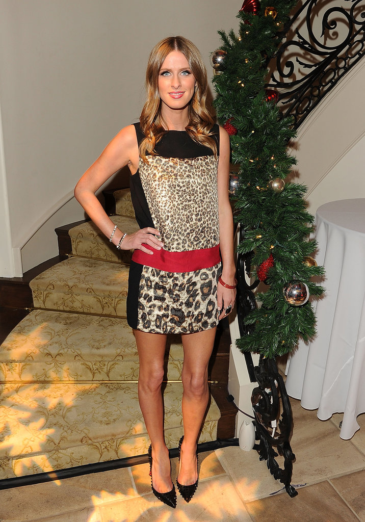Nicky Hilton loves her studded Christian Louboutin pumps. For this look, she paired the embellished heels with a leopard-print minidress.