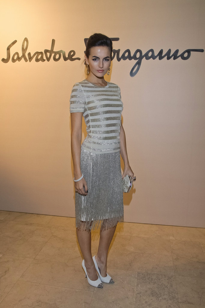 Camilla Belle looked lovely in a silver Salvatore Ferragamo dress and coordinated two-tone pumps.