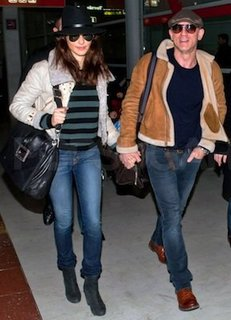 Rachel Weisz in Striped Sweater, Suede Booties at Airport
