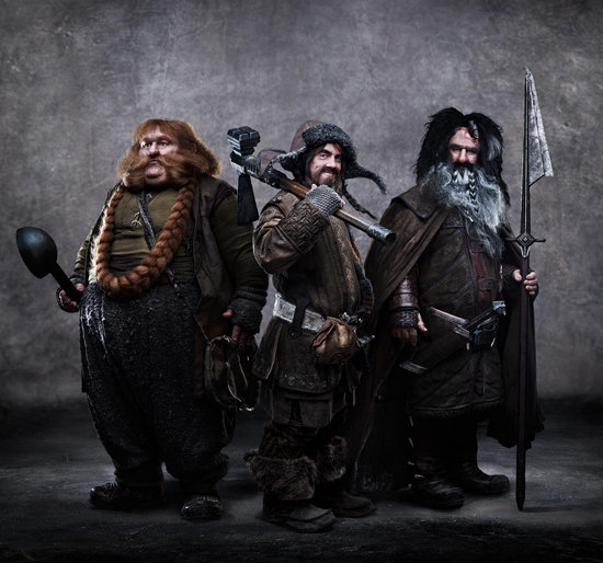 Stephen Hunter as Bombur, James Nesbitt as Bofur, and William Kircher as Bifur in The Hobbit: An Unexpected Journey.