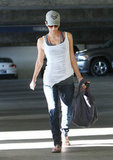 Halle Berry went casual as she ran errands.