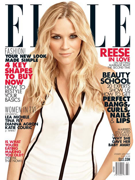 Reese Witherspoon on the cover of Elle Magazine.
