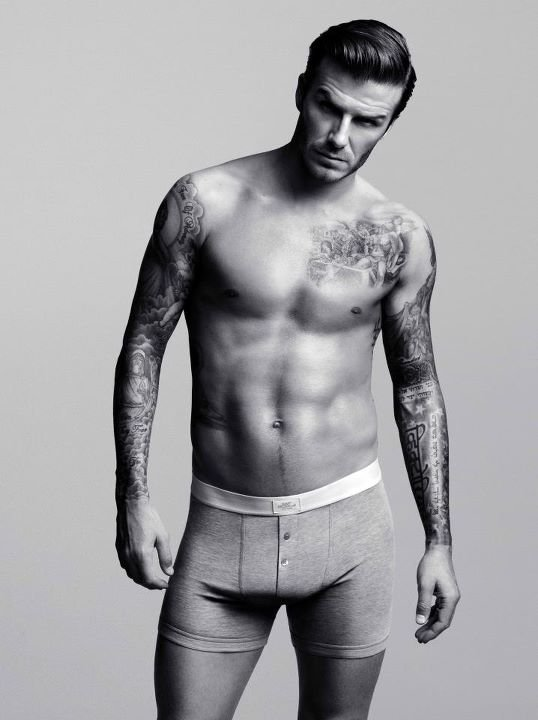 David Beckham wore just briefs for the 2012 ads supporting his Bodywear collection for H&M.