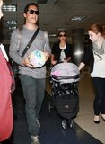 Cash Warren, Jessica Alba, and their family at LAX.