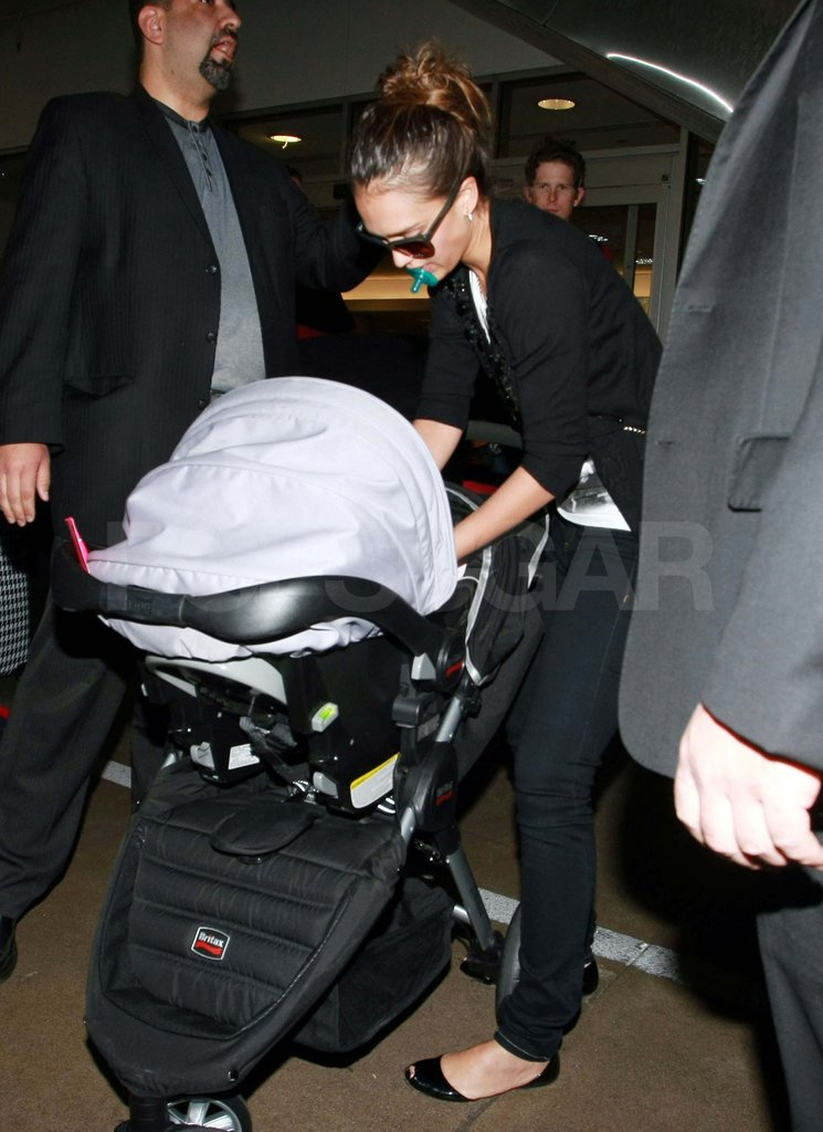 Jessica Alba arriving at LAX.