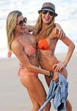 LeAnn joked around with a friend on the beach.