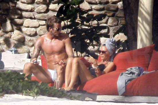 David Beckham and Victoria celebrated their 10th wedding anniversary by sunning in the Seychelles during July 2009.