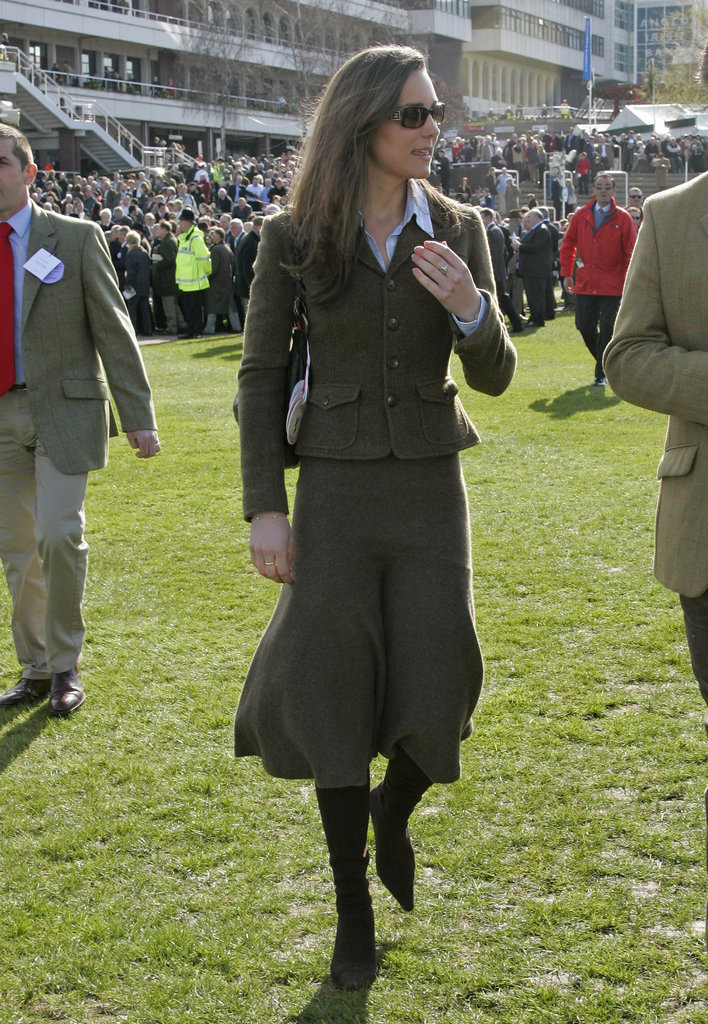 Kate Middleton wore matching separates for the Cheltenham Horse Racing Festival in March 2007.