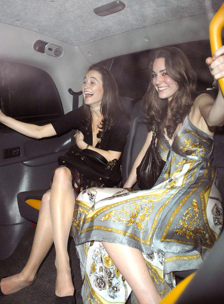 Kate and Pippa Middleton cracked up as they left London's Mahiki in February 2007.