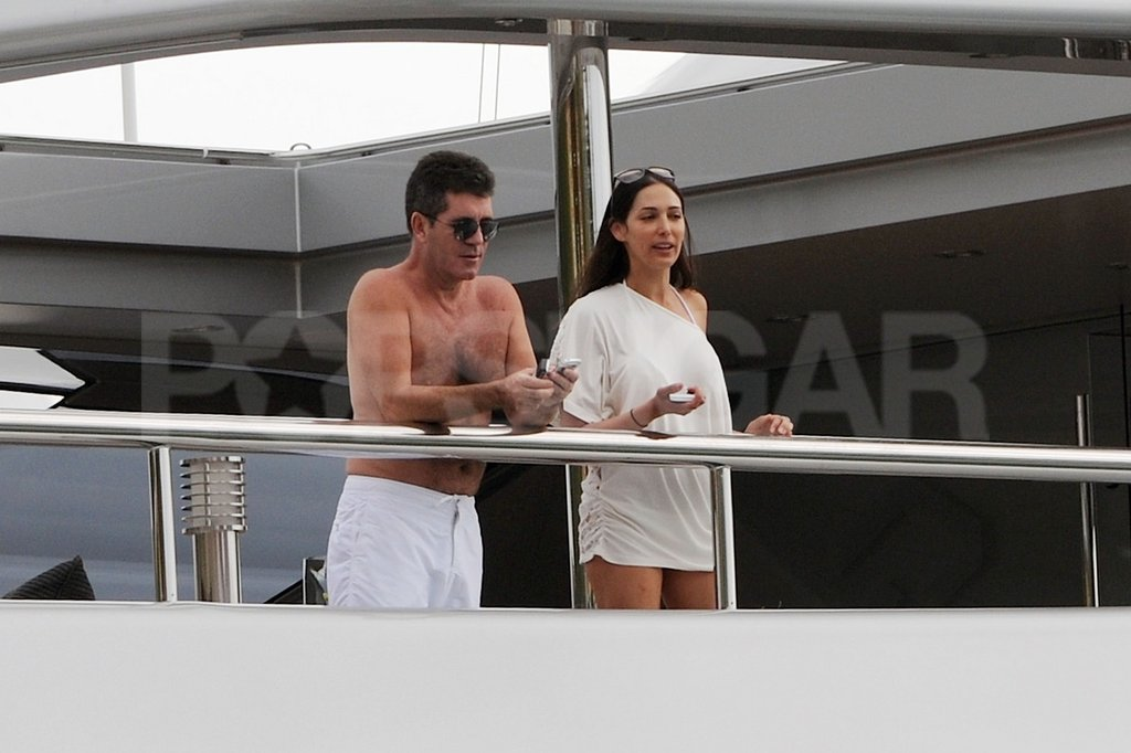 Simon Cowell spent his morning off the coast of St. Barts with friends.