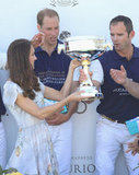 During the royal couple's California trip, Kate hands hubby Will's team the winner's cup for the Foundation Polo Challenge in Santa Barbara. The event benefits the charity American Friends of the Foundation of Prince William and Prince Harry.