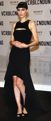 Rooney Mara in Black Michael Kors High-Low Dress