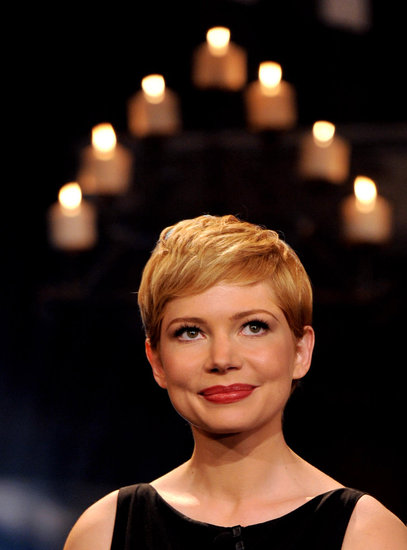 Michelle Williams was pretty with berry lips in LA.