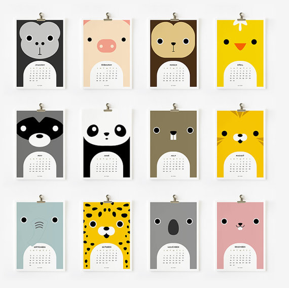 Printable 2012 Cute Animal Calendar ($8)
