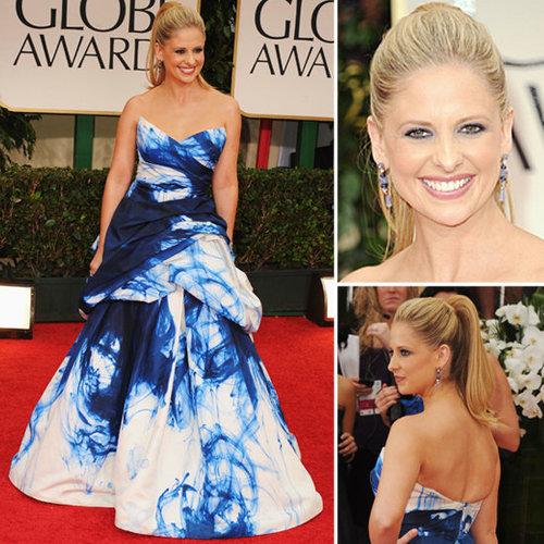 Sarah Michelle Gellar Wears Monique Lhuillier Gown to the 2012 Golden Globes