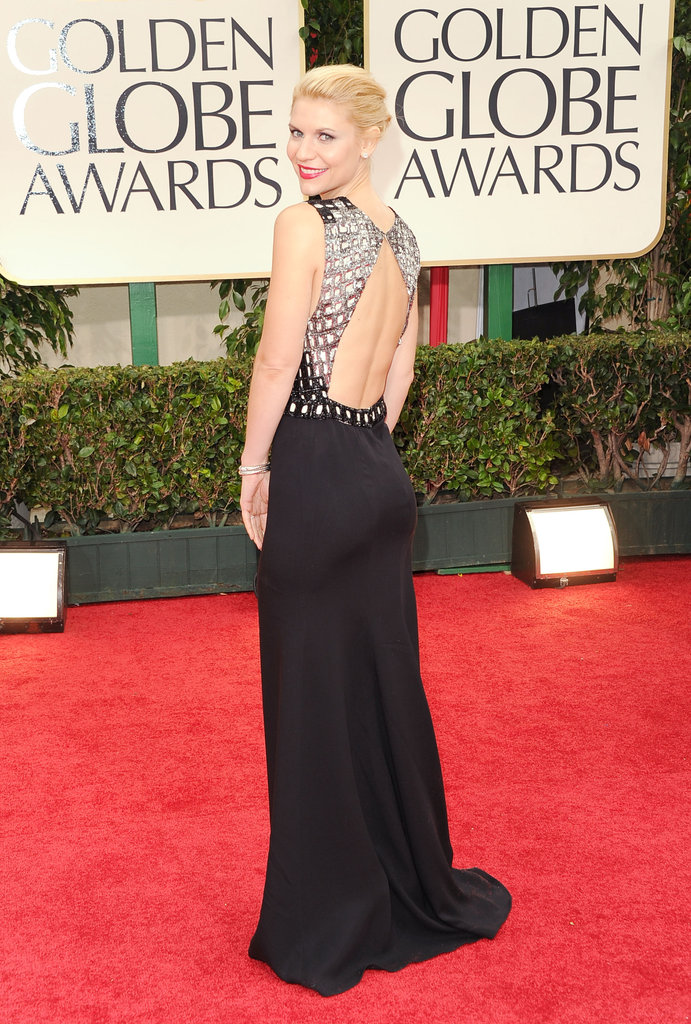 Claire Danes in a black and white dress at the Golden Globes.