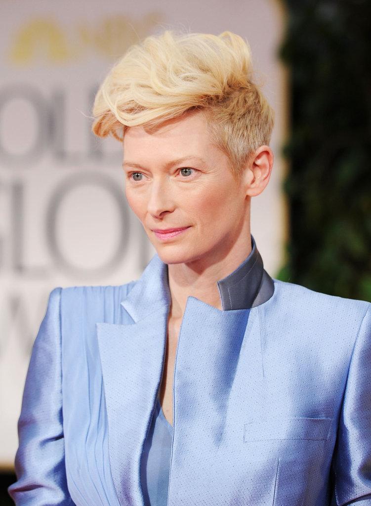 Tilda Swinton in blue at the Golden Globes.
