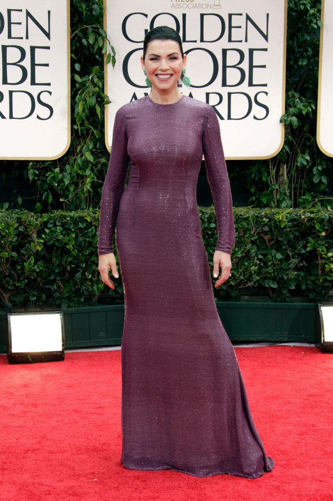 Julianna Margulies  in a purple gown.