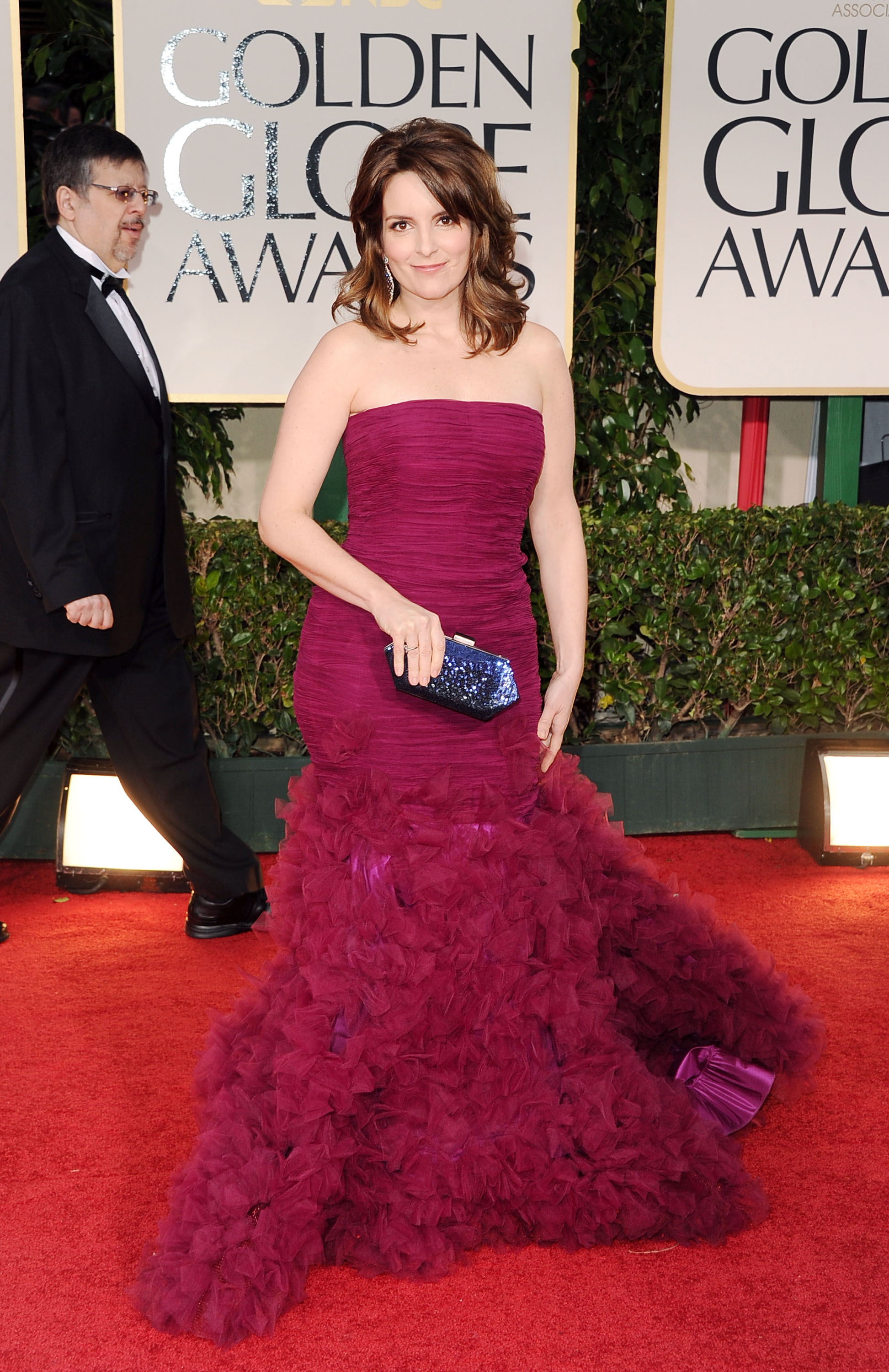 Tina Fey on the Golden Globes red carpet.