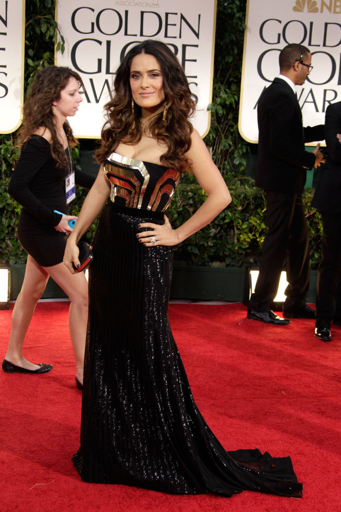 Salma Hayek hit the red carpet in Gucci.