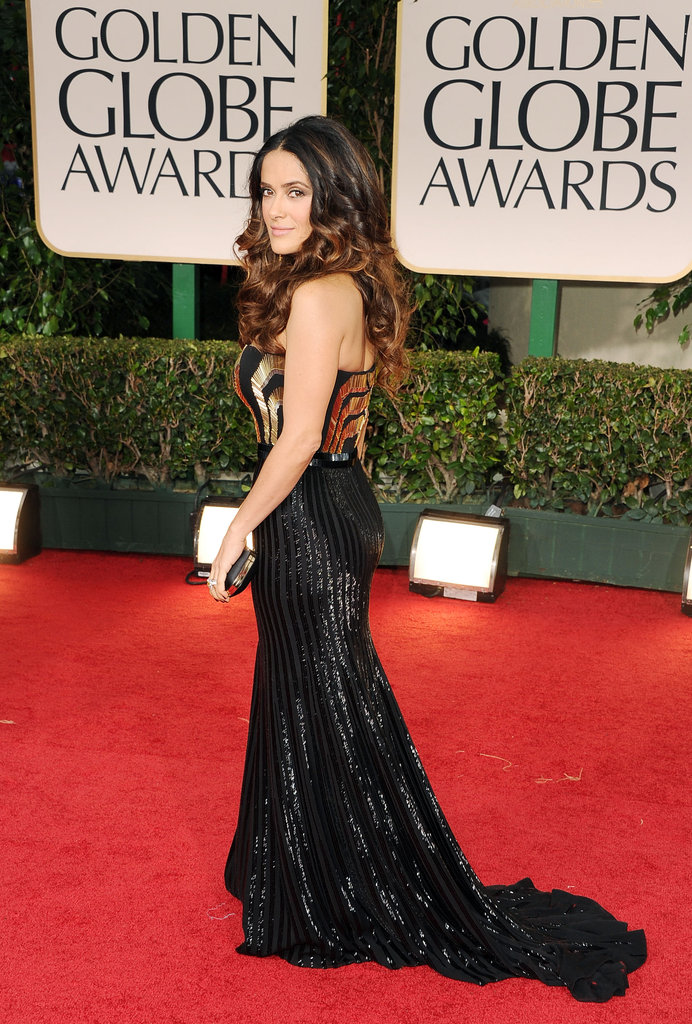 Salma Hayek arrived at the 2012 Golden Globe Awards.