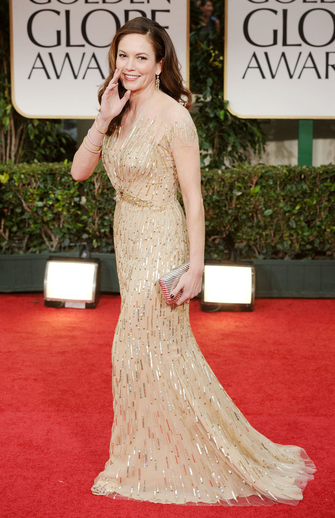Diane Lane in gold at the Golden Globes.