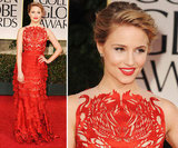 Glee's Dianna Agron donned a fiery red Giles Deacon gown, and upon closer review, we spotted laser-cut swan cutouts along the bodice and the ruffled tiers of the floor-length skirt.