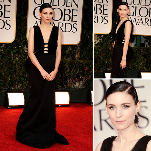 Rooney Mara Wears a Sexy Black Nina Ricci's Pre-Fall 2012 collection at the 2012 Golden Globes