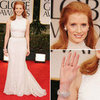The Help Actress Jessica Chastain Wears a Pearl-Adorned Givenchy Gown and Harry Winston Jewellery at the 2012 Golden Globes