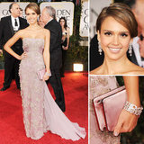 Jessica Alba went for an effortlessly feminine look in a strapless blush-tone Gucci gown, complete with sparkly embellishments all over the bodice and train.