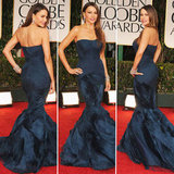 Modern Family glamazon Sofia Vergara showed off her curves in a midnight-blue Vera Wang gown. As for glamorous details, Sofia added sparkle with a set of Harry Winston bracelets and megawatt earrings.