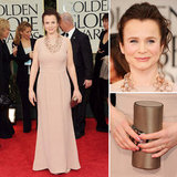 Emily Watson wore a simple, yet elegant blush-colored gown, adorned with a funky, circle-chained necklace.