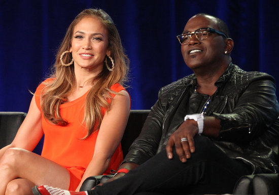 Jennifer Lopez and Randy Jackson at American Idol panel during 2012 TCAs.