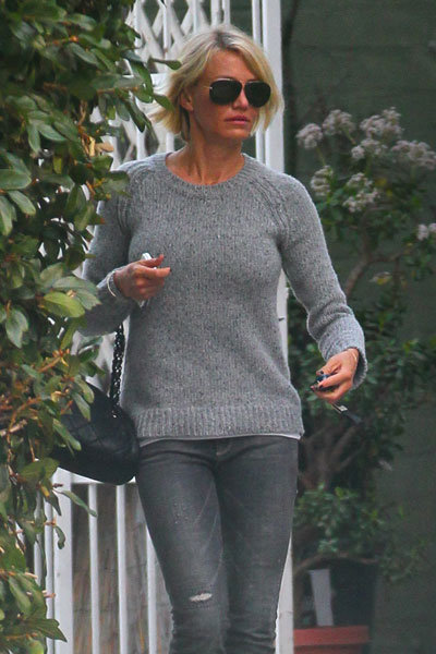 Cameron Diaz wearing all gray in LA.