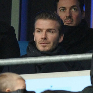 David Beckham Watches Soccer With Father Ted and Three Sons