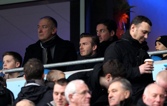 David Beckham Takes in a Soccer Match With His Father and Sons
