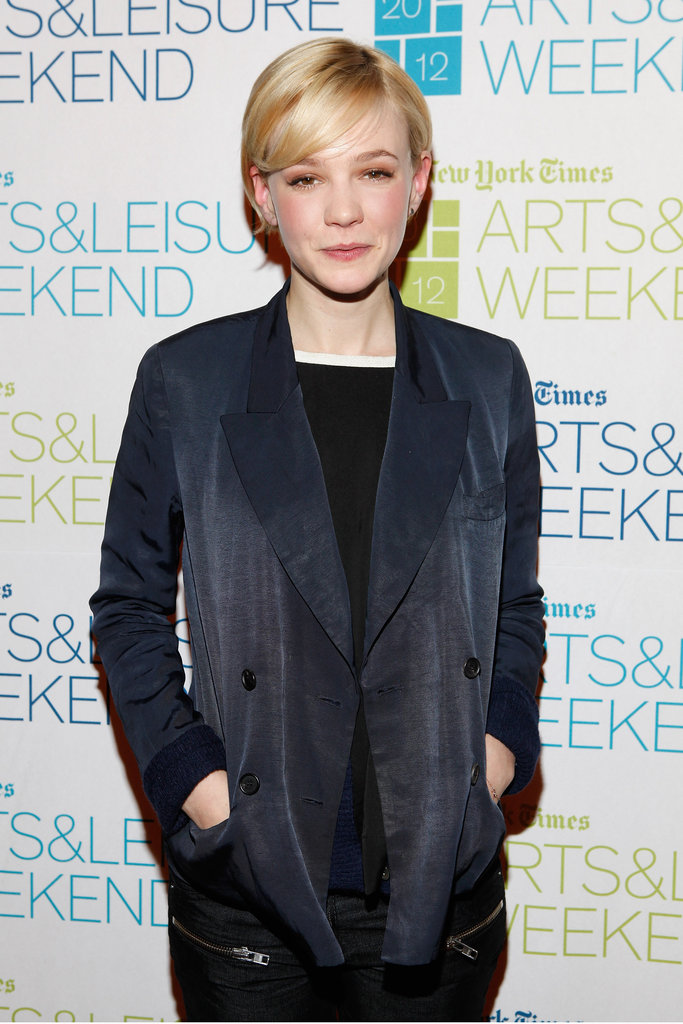Carey Mulligan wearing black at an event in NYC.