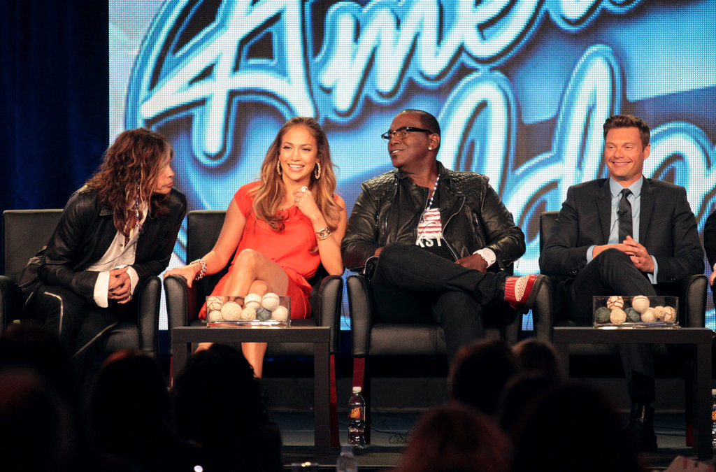 Steven Tyler, Jennifer Lopez, Ryan Seacrest, and Randy Jackson at American Idol panel during 2012 TCAs.