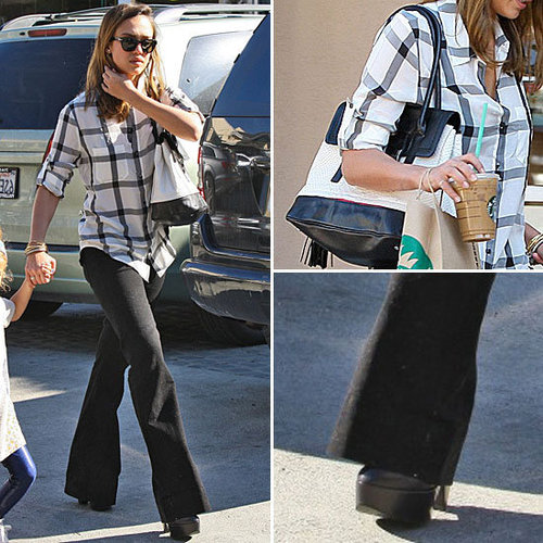 Celeb Style: Jessica Alba's Madewell Plaid and Flares