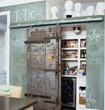 A weathered door looks right at home next to a chalkboard wall scribbled with notes.   Source