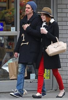Emma Stone in J Brand Jeans, Rag and Bone Scarf, Lanvin Bag