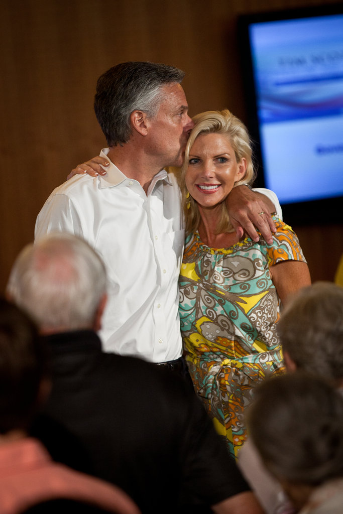 Jon Huntsman kisses his wife during a town hall meeting in South Carolina.
