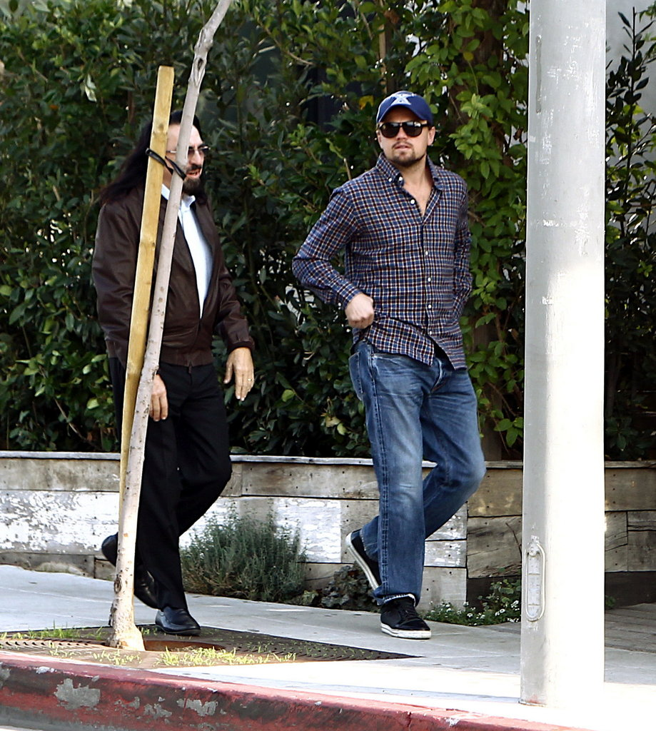 Leo strolled with his dad, George.