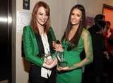 Nina Dobrev and Emma Stone met up backstage at the 2012 People's Choice Awards.
