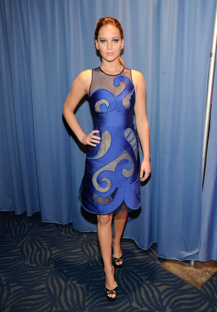 Jennifer Lawrence in a blue dress.