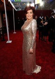 Sharon Osbourne in a sequined gown.
