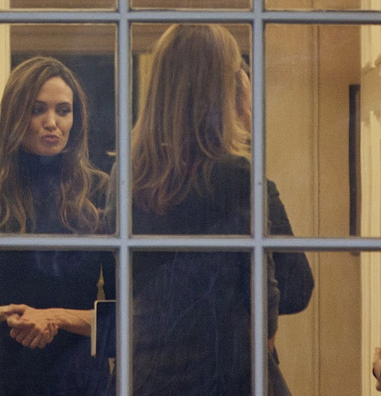 Angelina Jolie waited for her audience with the president.