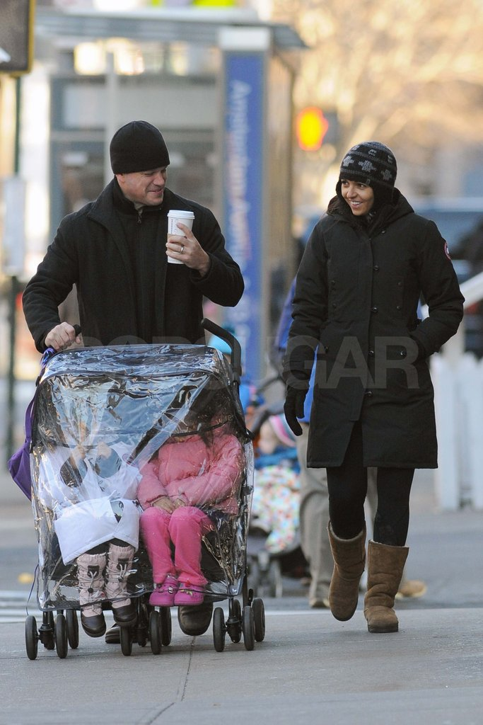 Matt Damon out in NYC with his daughters and wife Luciana.
